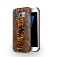 Кожаный чехол накладка (премиум нат. кожа рептилии) для Samsung Galaxy S7