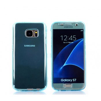 Двухкомпонентный силиконовый матовый полупрозрачный чехол горизонтальная книжка с акриловой полноразмерной транспарентной смарт крышкой для Samsung Galaxy S7