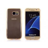 Двухкомпонентный силиконовый матовый полупрозрачный чехол горизонтальная книжка с акриловой полноразмерной транспарентной смарт крышкой для Samsung Galaxy S7 Бежевый