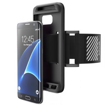 Силиконовый матовый непрозрачный противоударный спортивный чехол с наручным нескользящим светоотражающим ремнем для Samsung Galaxy S7