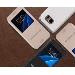 Чехол горизонтальная книжка подставка на силиконовой основе с окном вызова и полоcой свайпа для Samsung Galaxy S7