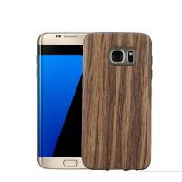 Противоударный двухкомпонентный силиконовый матовый непрозрачный чехол с поликарбонатными вставками и текстурным покрытием Дерево для Samsung Galaxy S7