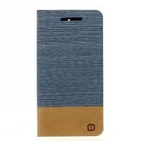 Чехол горизонтальная книжка подставка текстура Линии на силиконовой основе с отсеком для карт и тканевым покрытием для ASUS ZenFone Go 4.5  Голубой