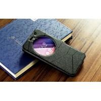 Чехол горизонтальная книжка подставка текстура Линии на силиконовой основе с окном вызова на магнитной защелке для ASUS Zenfone Go 5.5/Go TV Черный