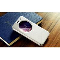 Чехол горизонтальная книжка подставка текстура Линии на силиконовой основе с окном вызова на магнитной защелке для ASUS Zenfone Go 5.5/Go TV Белый