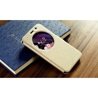 Чехол горизонтальная книжка подставка текстура Линии на силиконовой основе с окном вызова на магнитной защелке для ASUS Zenfone Go 5.5/Go TV Бежевый