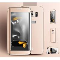 Эксклюзивный многомодульный чехол флип с полной защитой экрана, транспарентной крышкой и свайпом текстура Металл для Samsung Galaxy S7 Edge