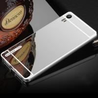 Двухкомпонентный чехол c металлическим бампером с поликарбонатной накладкой и зеркальным покрытием для Lenovo Vibe Shot  Белый