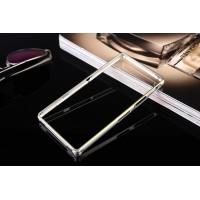 Металлический прямоугольный бампер на пряжке с золотой окантовкой для Sony Xperia Z1  Белый