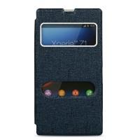 Чехол горизонтальная книжка подставка на пластиковой основе с окном вызова и свайпом для Sony Xperia Z1  Синий