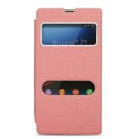 Чехол горизонтальная книжка подставка на пластиковой основе с окном вызова и свайпом для Sony Xperia Z1  Розовый