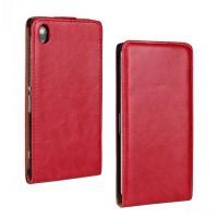 Чехол вертикальная книжка на пластиковой основе на магнитной защелке для Sony Xperia Z1  Красный
