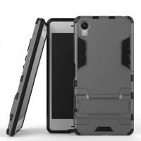 Противоударный двухкомпонентный силиконовый матовый непрозрачный чехол с поликарбонатными вставками экстрим защиты с встроенной ножкой-подставкой для Sony Xperia X  Серый