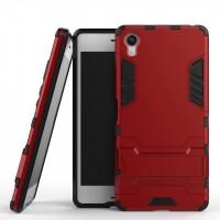 Противоударный двухкомпонентный силиконовый матовый непрозрачный чехол с поликарбонатными вставками экстрим защиты с встроенной ножкой-подставкой для Sony Xperia X  Красный
