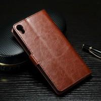Глянцевый чехол портмоне подставка на силиконовой основе на магнитной защелке для Sony Xperia XA  Коричневый
