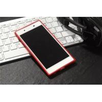 Металлический округлый бампер на пряжке для Sony Xperia XA Красный