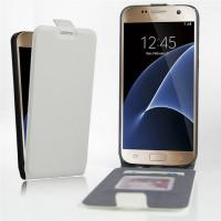 Чехол вертикальная книжка на силиконовой основе с отсеком для карт на магнитной защелке для Samsung Galaxy S7 Белый