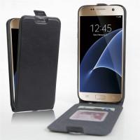 Чехол вертикальная книжка на силиконовой основе с отсеком для карт на магнитной защелке для Samsung Galaxy S7