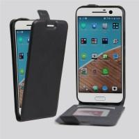 Чехол вертикальная книжка на силиконовой основе с отсеком для карт на магнитной защелке для HTC 10  Черный
