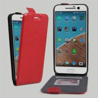 Чехол вертикальная книжка на силиконовой основе с отсеком для карт на магнитной защелке для HTC 10  Красный