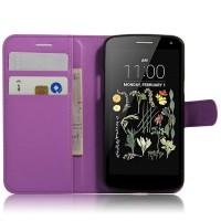 Чехол портмоне подставка на силиконовой основе на магнитной защелке для LG K5  Фиолетовый