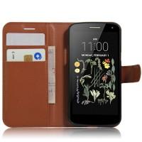 Чехол портмоне подставка на силиконовой основе на магнитной защелке для LG K5  Коричневый
