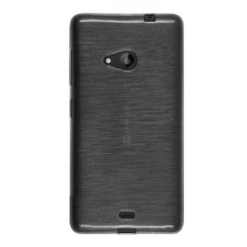 Силиконовый матовый полупрозрачный чехол текстура Металлик для Microsoft Lumia 535