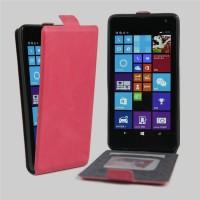 Чехол вертикальная книжка на клеевой основе с отсеком для карт на магнитной защелке для Microsoft Lumia 535  Пурпурный