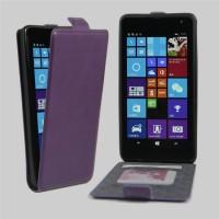 Чехол вертикальная книжка на клеевой основе с отсеком для карт на магнитной защелке для Microsoft Lumia 535  Фиолетовый