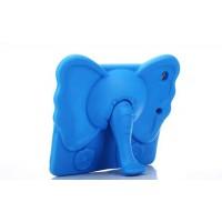 Ударостойкий детский силиконовый матовый гиппоаллергенный непрозрачный чехол с встроенной ножкой-подставкой для Ipad 2/3/4 Синий
