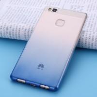 Силиконовый матовый полупрозрачный градиентный чехол для Huawei P9 Lite  Синий