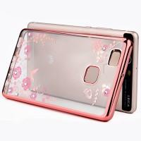 Силиконовый матовый полупрозрачный чехол с текстурным покрытием Узоры для Huawei P9 Lite  Розовый
