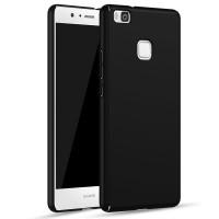 Пластиковый непрозрачный матовый чехол с улучшенной защитой элементов корпуса для Huawei P9 Lite  Черный