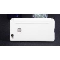 Чехол горизонтальная книжка на пластиковой нескользящей премиум основе для Huawei P9 Lite  Белый