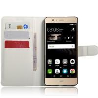 Чехол портмоне подставка на силиконовой основе на магнитной защелке для Huawei P9 Lite  Белый