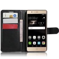 Чехол портмоне подставка на силиконовой основе на магнитной защелке для Huawei P9 Lite  Черный