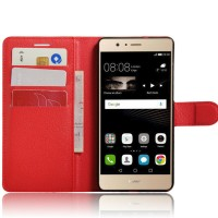 Чехол портмоне подставка на силиконовой основе на магнитной защелке для Huawei P9 Lite  Красный