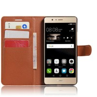 Чехол портмоне подставка на силиконовой основе на магнитной защелке для Huawei P9 Lite  Коричневый