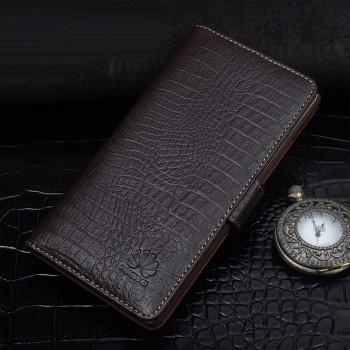 Кожаный чехол портмоне подставка (премиум нат. кожа крокодила) с крепежной застежкой для Huawei P9 Lite