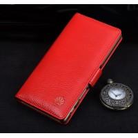 Кожаный чехол портмоне подставка (премиум нат. кожа) с крепежной застежкой для Huawei P9 Lite