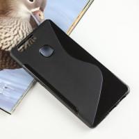 Силиконовый матовый полупрозрачный чехол с дизайнерской текстурой S для Huawei P9 Plus  Черный