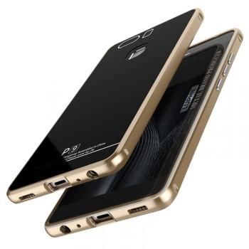 Двухкомпонентный чехол c металлическим бампером с поликарбонатной накладкой и поверхностью из закаленного стекла для Huawei P9 Plus