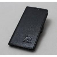 Кожаный чехол горизонтальная книжка подставка на силиконовой основе на магнитной защелке для Huawei P9 Plus  Черный