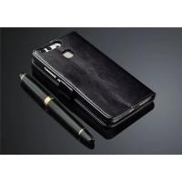 Глянцевый чехол портмоне подставка на пластиковой основе на магнитной защелке для Huawei P9 Plus  Черный