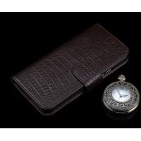 Кожаный чехол портмоне (премиум нат. кожа крокодила) с крепежной застежкой для Huawei P9 Plus  Коричневый
