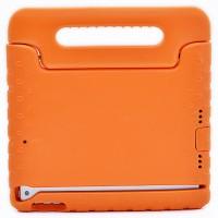 Ударостойкий детский силиконовый матовый гиппоаллергенный непрозрачный чехол с встроенной ножкой-подставкой для Ipad Air Оранжевый