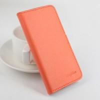 Чехол портмоне подставка на клеевой основе на магнитной защелке для Homtom HT6  Оранжевый