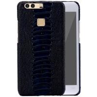 Кожаный чехол накладка (премиум нат. кожа рептилии) для Huawei P9 Plus Синий