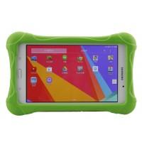 Ударостойкий детский силиконовый матовый гиппоаллергенный непрозрачный чехол для Samsung GALAXY Tab 4 7.0 Зеленый