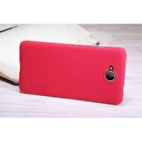 Пластиковый непрозрачный матовый нескользящий премиум чехол для Microsoft Lumia 650 Красный